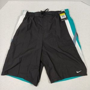 Nike-Men's Swim Trunk-Black/Teal/White- Size M